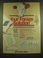1990 Southern States Ad - Your forage solution Guaranteed Analysis
