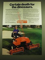 1990 Jacobsen Tri-king 1684D Mower Ad - Certain death for the dinosaurs