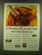 1990 Hershey's Chocolate Ad - In Hershey, PA, people fight over who cleans up