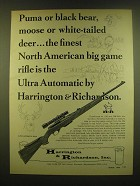 1966 Harrington & Richardson Ultra Automatic Rifle Ad - Puma or black bear