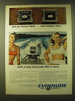 1966 Evinrude 100-S Outboard Motor Ad - You go faster here and slower here