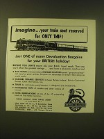 1952 British Railways Ad - Imagine your train seat reserved for only 14¢