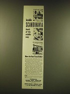 1950 Scandinavian National Travel Commission Ad - Inside Scandinavia lands
