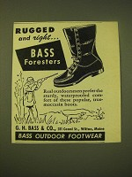 1950 Bass Foresters Boots Ad - Rugged and Right