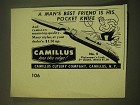 1950 Camillus No. 5 Fisherman's Luck Knife Ad - A Man's best friend