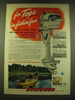 1949 Evinrude Outboard Motors Ad - for tops in fishin' fun