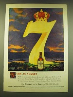 1949 Seagram's 7 Crown Whiskey Ad - Sure as sunset