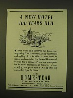 1947 The Homestead Resort and Spa Ad - A new Hotel 100 years old