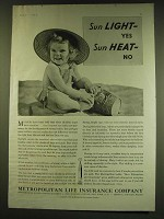1938 Metropolitan Life Insurance Ad - Sun Light - yes Sun Heat - No