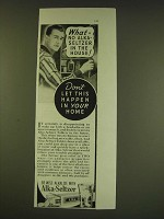 1938 Alka-Seltzer Tablets Ad - What - no Alka-Seltzer in the house!