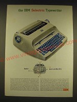 1962 IBM Selectric Typewiter Ad - faster More productive