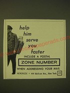 1961 U.S. Mail Ad - Help him serve you faster include a postal zone number