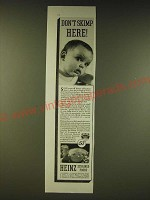 1936 Heinz Strained Foods Ad - Don't skimp here