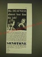 1936 Sonotone Hearing Aid Ad - His deafness almost lost him his job