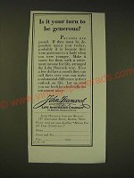 1936 John Hancock Life Insurance Ad - Is it your turn to be generous?