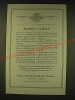 1935 Bank of New York & Trust Company Ad - Securities - or Risks?