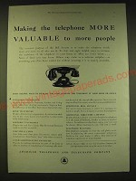 1933 American Telephone and Telegraph Company Ad - Making telephone valuable