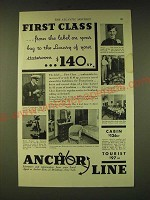 1933 Anchor Line Cruise Ad - First Class from the label on your bag