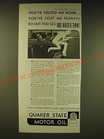 1931 Quaker State Motor Oil Ad - You've helped me none You've cost me plenty!