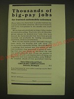 1931 Chrysler Corporation Ad - Thousands of big-pay jobs