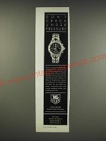 1990 Tag Heuer Chronograph Watch Ad (in German) - Don't crack under pressure