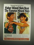 1990 Fisher Mixed Nuts Ad - National taste test proves Fisher Mixed Nuts beat