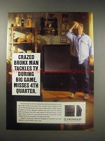 1990 Pioneer Big-Screen Television Ad - Crazed Bronx man tackles TV