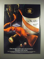 1990 Mumm Champagne Ad - One word captures the moment. Mumm's the word