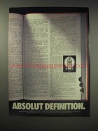 1990 Absolut Vodka Ad - Absolut Definition