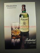 1990 Ballantine's 17 Years Old Scotch Ad - Distinction Rarely awarded