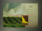 1990 Idaho Potatoes Ad - Idaho. The land is rich in volcanic soil.