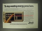 1990 Hunter Programmable Thermostat Ad - To stop wasting energy, press here