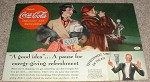 1936 Coke Coca-Cola Ad, A Pause For Energy Giving!