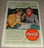 1940 Coke Coca-Cola Ad, Pause and Shop Refreshed!!