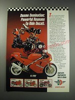 1991 Ducati 851 Sport Motorcycle Ad - Desmo domination: powerful reasons