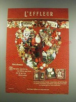 1991 L'effleur Holiday Collection Cologne Spray Ad - Rich in romance