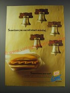 1991 Oscar Mayer Light Hot Dogs Ad - Sometimes you can tell what's missing.