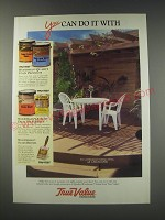1991 True Value Woodsman Stains Ad