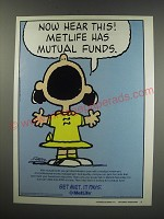 1991 MetLife Insurance Ad - Lucy from the Peanuts - Now hear this!