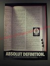 1991 Absolut Vodka Ad - Absolut Definition