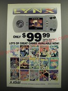 1991 Atari Lynx Video Game Ad - Lots of great games available now