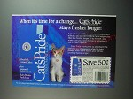 1991 Cat's Pride Cat Food Ad - When it's time for change