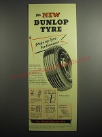 1948 Dunlop Tires Ad - The new Dunlop Tyre steps up Tyre performance