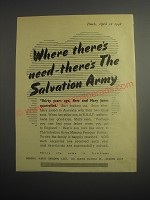 1948 Salvation Army Ad - Where there's need - there's the Salvation Army