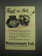 1948 Waterman's Ink Ad - Think in Ink