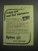 1948 Optrex Eye Lotion Ad - First aid for summer eye troubles