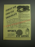 1948 Optrex Eye Lotion Ad - First aid for eye troubles