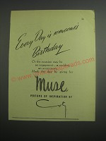 1948 Coty Muse Perfume Ad - Every day is someone's birthday