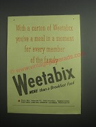 1948 Weetabix Cereal Ad - With a carton of Weetabix you've a meal in a moment