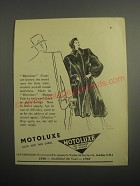 1948 Motoluxe Fur Coats Ad - Motoluxe Look for this label